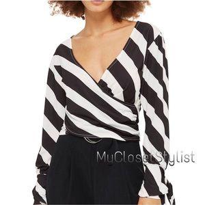 Topshop Black White Cropped Stripe Top NWT 24 xs/s